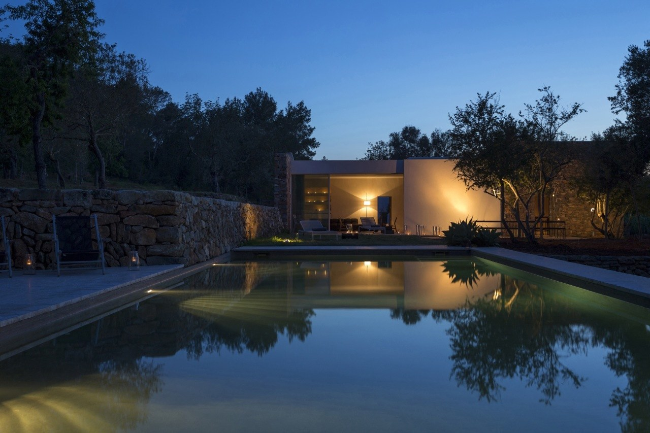 Kelosa Ibiza. Modern finca at night pool