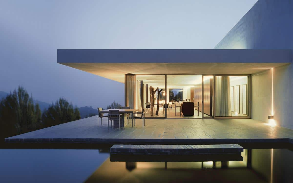 minimal villa modern night lights